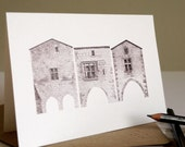 Architectural Greetings Card: Monpazier, three houses on Place des Cornières