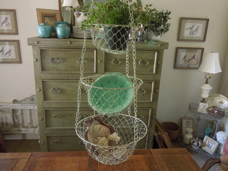 Vintage Metal Basket Mesh Hanging Basket Kitchen By