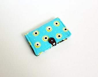 Teal Fabric Business Card Holder, with Brown and Teal Flowers - Credit Card Holder, Cloth Card Holder, Gift Card Holder