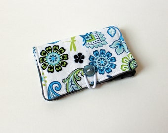 Blue Dragonfly Paisley Fabric Business Card Holder, with Grey Black Polka Dot - Credit Card Holder, Cloth Card Holder, Gift Card Holder