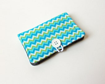 Blue Chevron Fabric Business Card Holder, with Grey Black Dot - Credit Card Holder, Cloth Card Holder, Gift Card Holder
