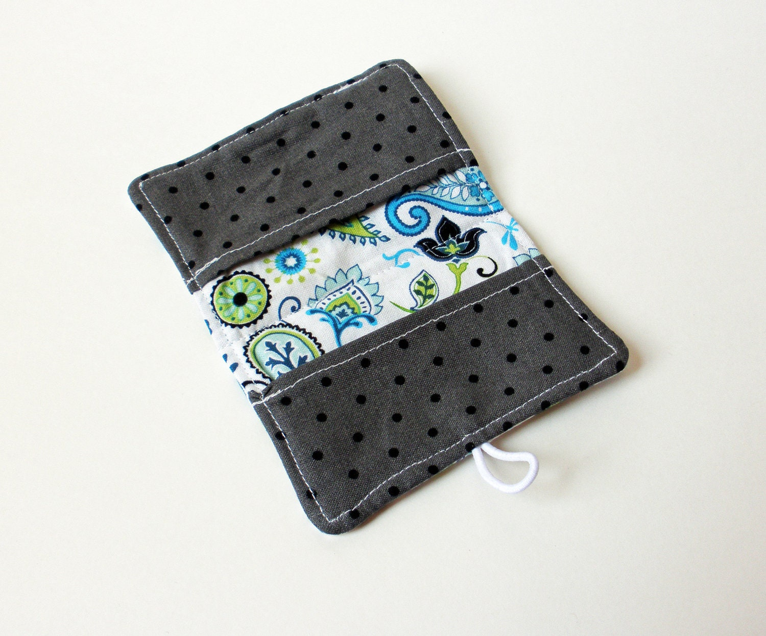 Blue Dragonfly Paisley Fabric Business Card Holder, with Grey Black ...