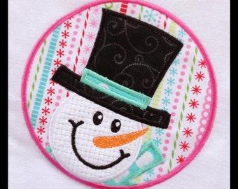 Snowman in a circle Applique EMBROIDERY DESIGN