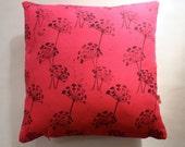 SALE Fynbos seedling hand block printed decorative cushion cover in black on cerise pink