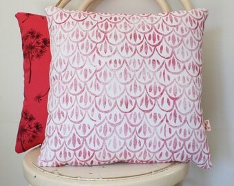SALE Hand block printed Cape Dutch Inspired scatter cushion cover, in cerise pink on white.