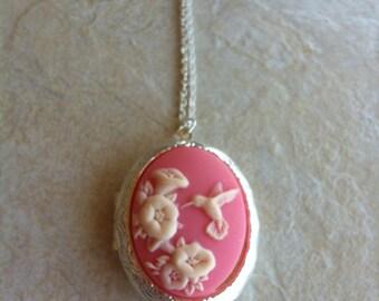 Bride Gift Pink Locket Hummingbird Art Cameo Ladies Silver Filegree art designer Necklace Pendant