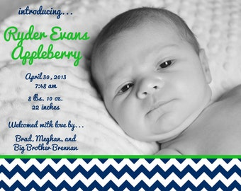 green and navy birth announcement