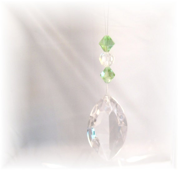 Sale SaLe Rear View Mirror Charm, Light Green & Crystals
