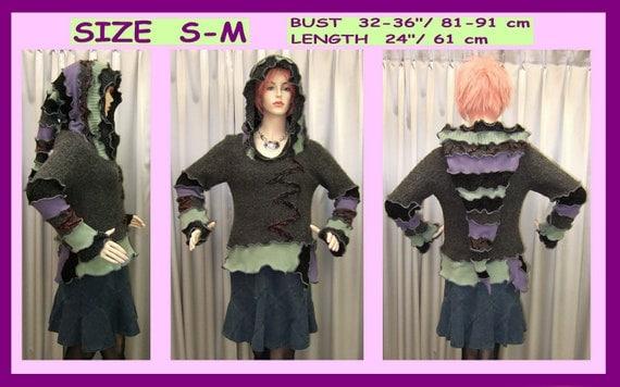 Elf sweater, Sweater, elf coat, jacket, Hoodie, knitting, gypsy, recycled, ooak, pixie, yarn embroidery