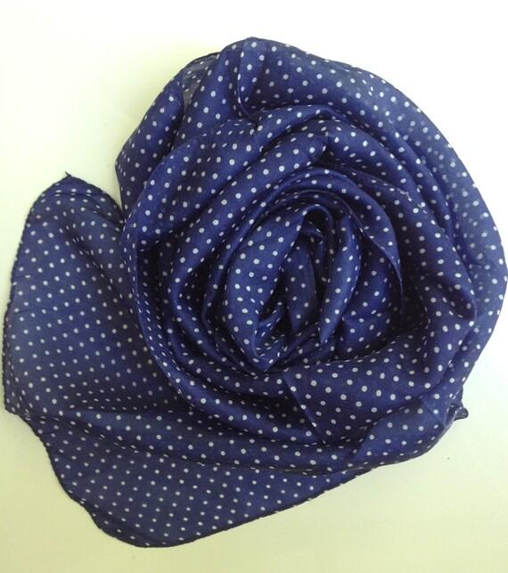 Navy Blue Silk Polka Dot Scarf