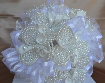 Wedding Bridal Bouquet White with Pearls