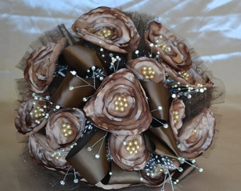 Wedding Bouquet Brown with Dark Chocolate Brown and Pearls
