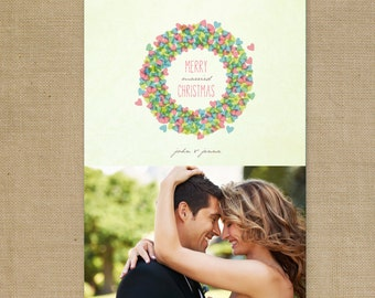 "DIY Printable or Printed ""Married Wreath"" Newlyweds or Couple's First Christmas Holiday Card and Matching Return Address Label"
