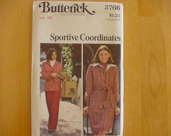 VINTAGE 1970s Butterick Pattern 3766 Misses Semi-Fitted Shirttop, A-Line Skirt, Pants, Size 10 Bust 32 1/2 Uncut