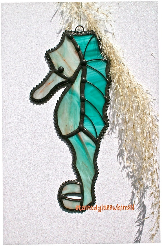 Stained Glass SEA HORSE Suncatcher - Wispy Teal/Turquoise with Coral & White - USA Handmade