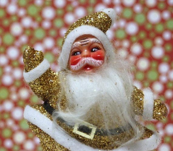 Vintage Santa Plastic Gold Glitter Decoration Kitsch Holiday Christmas Craft