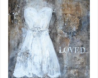 Art Print of Original Acrylic Mixed Media Painting - LOVED - Black, White, Brown, Cream