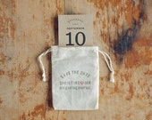 Rustic Muslin Bag Kraft Save the Date and Envelope with Hand-Stamped Return Address