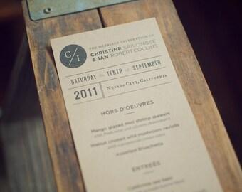 Kraft Reception Menu for Weddings and Events (Custom)