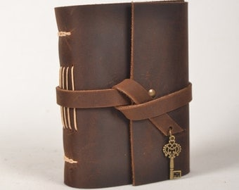 Leather Journal Diary With Vintage Key Charm A6 Blank Lined Craft Paper Brown With Gift Box