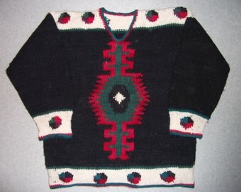 Aztec Tribal Eye Design Vintage Wool Ugly Christmas Sweater Party Tacky Gaudy X-Mas Holiday Winter Warm L Large XL Extra Large