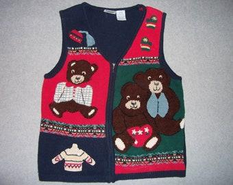 Three Bears Sweater Vest Zip Up Tacky Gaudy Ugly Christmas Sweater Party X-Mas M Medium