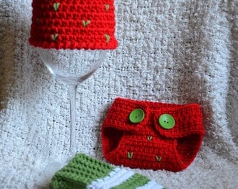 Crocheted Strawberry Hat Diaper Cover and Leg Warmers Photo Prop Set 0 - 3 Months