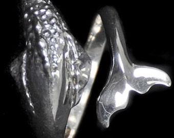 Medium Humpback Whale Ring -  Sizes 5-9 Adjustable