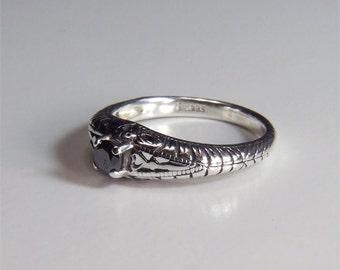 Diamond (Black Diamond, Genuine Carbonado), 4mm x 0.30 Carats, Round Cut, Art Deco Revival Style Sterling Silver Ring