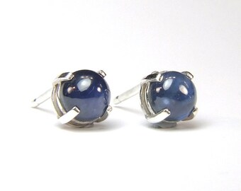 Genuine Blue Sapphire, 5mm x 0.75 Carat, Cabochon Cut, Sterling Silver Stud Earrings