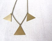 Geometric Brass Necklace, Southwestern, Modern, Gift For Her