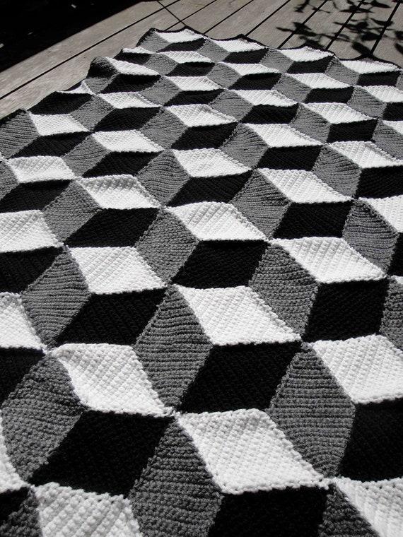 isometrische decke afghan geometrische schwarz wei grau. Black Bedroom Furniture Sets. Home Design Ideas