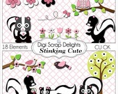 Pink and Black Stinking Cute Skunk, Owl, Bird Clip Art for Digital Scrapbooking, Card Making, Party Printables, Instant Download