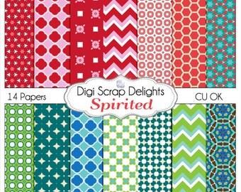 Spirited Digital Scrapbook Papers in Bold Blue, Green, Pink, Red w Chevron & Quatrefoil Patterns, Instant Download