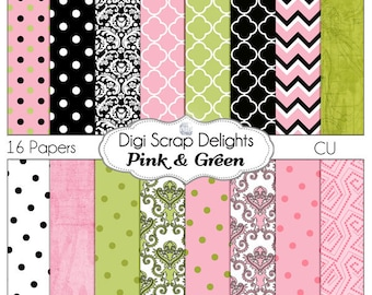Pink, Black, & Green Digital Papers in Damask, Chevron, Quatrefoil for Digital Scrapbooking, Card Making, Web Design, Instant Download