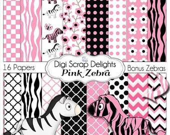 Pink Zebra Papers w Black Pink Zebra Clip Art for Birthday Party Invitation, Card Making, Party Printables, Instant Download