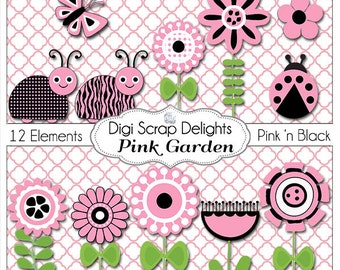 Pink and Black Bundle Bugs,  Flowers, Labels, Digital Papers, Clip Art for Digital Scrapbooking Crafts