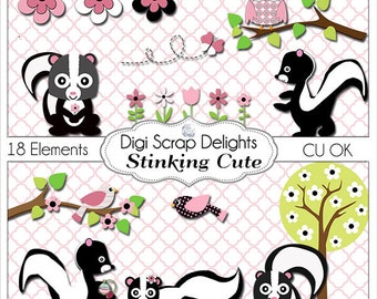 2 Dollar SALE! Pink and Black Stinking Cute Skunk, Owl, Bird Clip Art for Digital Scrapbooking, Card Making, Party Printables