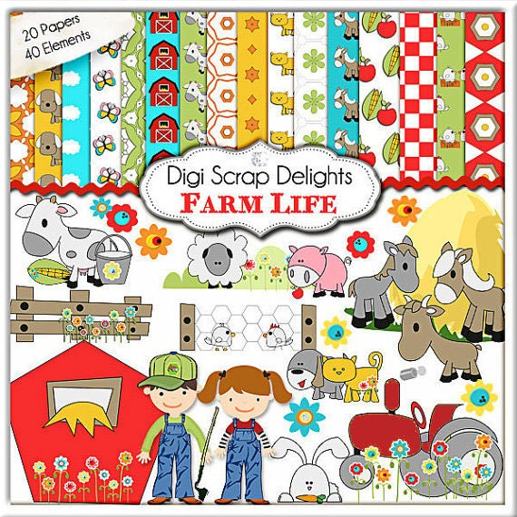 Farm Clip Art: Barn,Tractor, Animals, Horse, Cow, Chicken for ...
