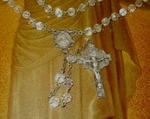 Sterling Silver Glass Bead Rosary Necklace Vintage with Aurora Borealis Beads