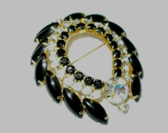 Pin or Brooch Jet Black and Rhinestone Large AB Center Stone
