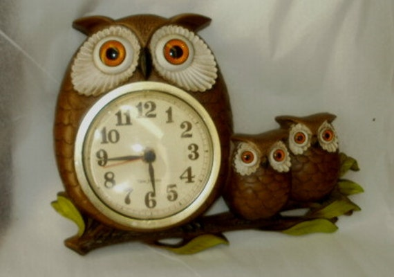 1972 Burwood Products Owl Vintage Kitchen Clock Hanging  Three Owl Family Wall Clock