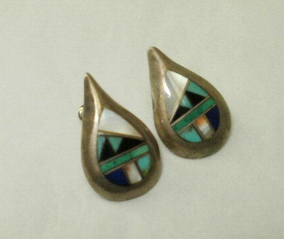 Teardrop Shape Sterling Silver Earrings with Inlaid Stones for Pierced Ears