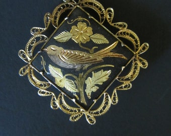 Vintage Damascene Brooch - Etched Bird With Leaves and Flower - Detailed Filigree Pin - Womens Fashion Accessory