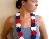 Crochet Necklace Red, Blue and White American Flag Flowers for Party, Disco, Weddings...