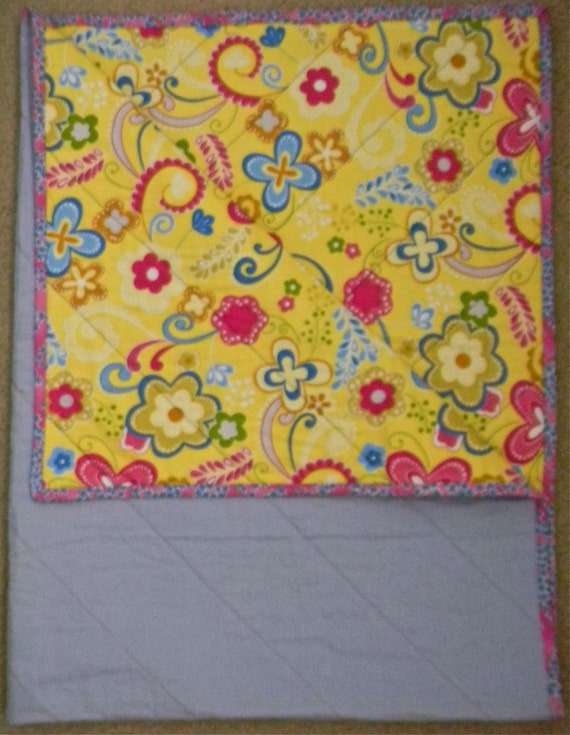Baby Blue Linen and Yellow Floral Baby/Toddler Quilt