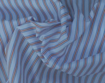 Blue and Orange Stripe Cotton Fabric, 1 Yard