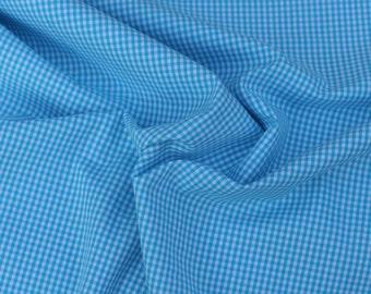 Turqoise Gingham Cotton Fabric, 1 Yard