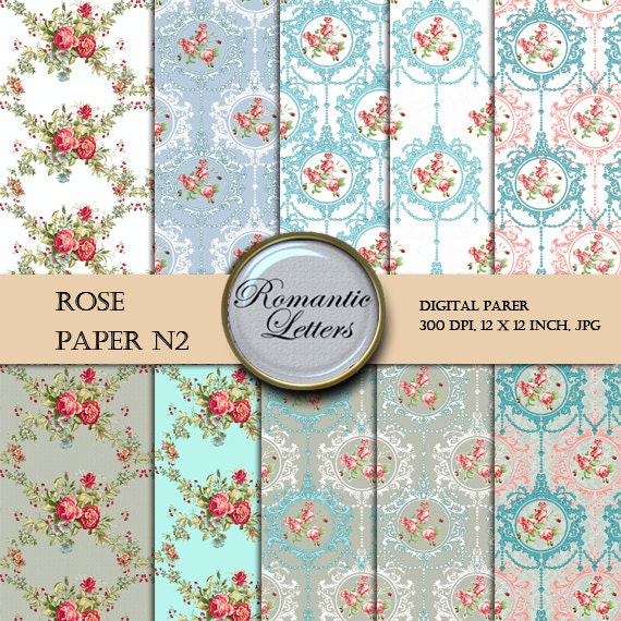 Digital Scrapbook Paper Pack ROSE Floral Shabby Chic digital backdrop Shabby Chic flowers digital scrapbook background paper rose floral