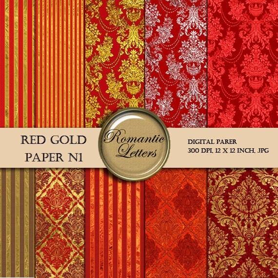 Digital paper damask gold digital paper red gold digital background digital Scrapbook gold damask paper background printable Steampunk